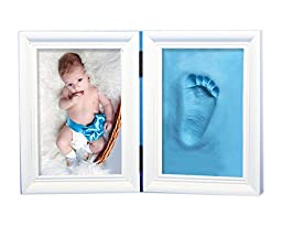 NovoGifts 1st Year Baby Picture Frame Come with Colorful Eco-friendly Plasticine Blue