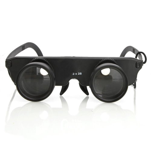 New And High Quality 3X28 Glasses Style Fishing Binoculars Telescope Black #Y12