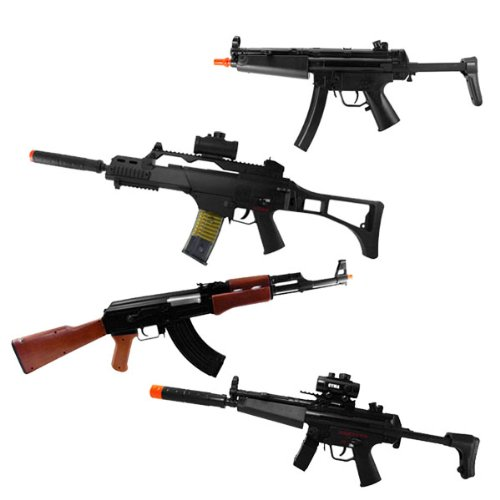 AIRSOFT ELECTRIC RIFLES PACKAGE DEAL &#8211; 4 GUNS FOR ONE PRICE &#8211; GREAT DEAL INCLUDES &#8211; P5 ELECTRIC 175 FPS RIFLE &#8211; A CM.022 ELECTRIC RIFLE FPS 145 &#8211; A M85 ELECTRIC RIFLE 167FPS &#038; CM.023 AIRSOFT RIFLE FPS 175