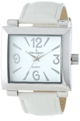 Peugeot Women's 706WT Silver-Tone White Leather Strap Watch