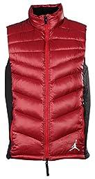 Jordan Men\'s Nike Hyperply 700 Fill Down Puffer Vest-Brick Red/Black-XL