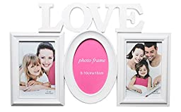 Decorative White 3 Picture Love Wall Hanging Collage Photo Frame, White