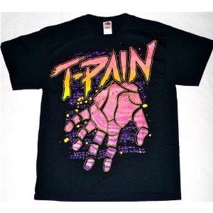 T-pain Pink & Purple Hand Music Black Adult T-shirt