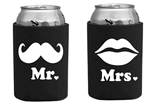 Mr. and Mrs. Wedding, Newly wed, Anniversary, Can Cooler Gift Set - Set of 2 Neoprene Koozies (White Lettering)