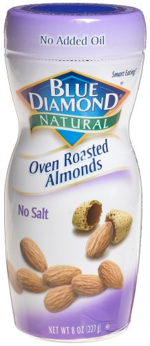 Blue Diamond Almonds Natural Oven Roasted No Salt, 8-Ounce Jars (Pack of 6)