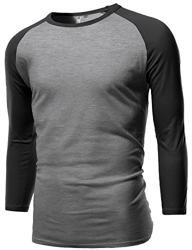 Sporty 3/4 Contrast Sleeve Raglan Roundneck Baseball T-Shirts Gray Charcoal Size M