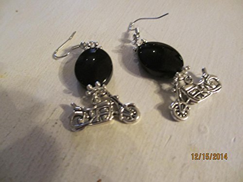 Harley Davidson Inspired Motorcycle Earrings with Skull Charms, Motorcycle Jewelry