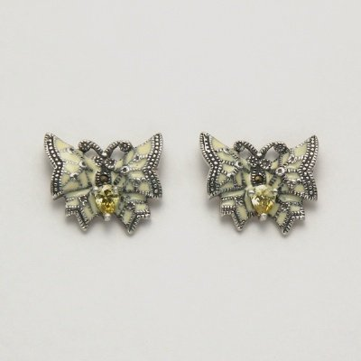 Marcasite with Citrine Butterfly Earrings