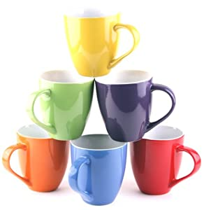 Set of 6 Large-sized 16 Ounce Ceramic Coffee Mugs (Solid)