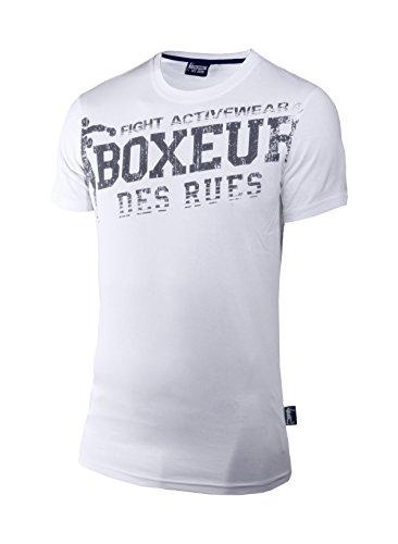 Boxeur Des Rues Fight Activewear T-shirt Scollo Rotondo con Logo, Bianco, L
