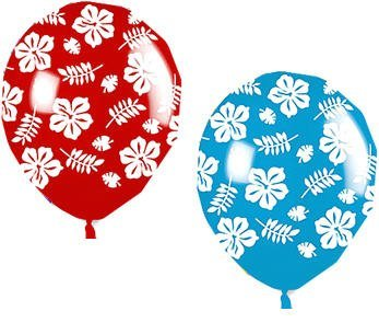 "Amscan Hibiscus Printed Latex Balloons, 12"", Pink/Yellow with Apple Green/Sky Blue"