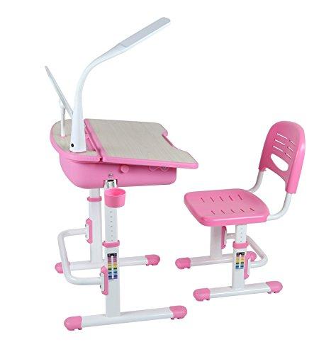 Leomark-Ergonomisch-Kinderschreibtisch-SMART-schreibtisch-und-Stuhl-hhenverstellbar-Farbe-Pink-mit-Schublade