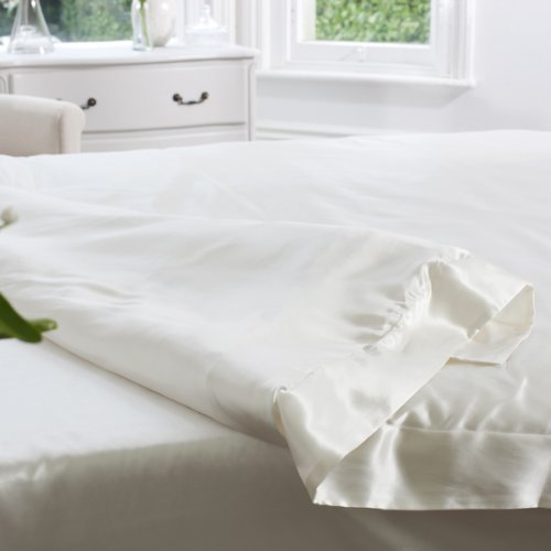 100% Mulberry 19MM Charmeuse Silk Duvet Cover (IVORY) SUPER KING 260cm x 220cm+7cm border