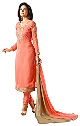 Shenoa Women's Faux Georgette Unstitched Dress Material(9506, Orange)