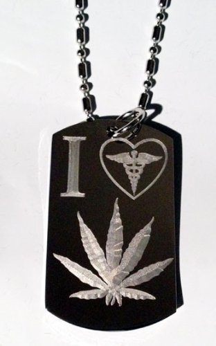 Novelty Weed POT Leaf Ganja Marijuana I Love Medical Logo - Military Dog Tag Luggage Tag Key Chain Metal Chain Necklace