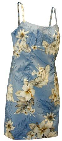 Misses White Hibiscus Hawaiian Sun Dress, Large, Blue