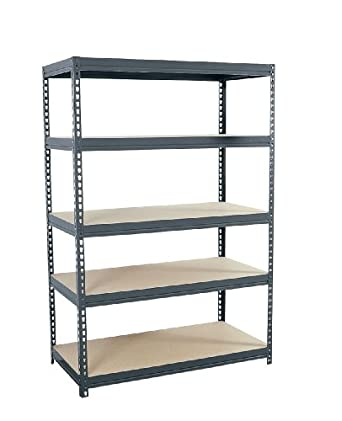 "Sandusky Lee CR4824 Gray Steel Boltless Rivet Particle Board Shelving, 72"" Height x 48"" Width x 24"" Depth, 5 Shelves"
