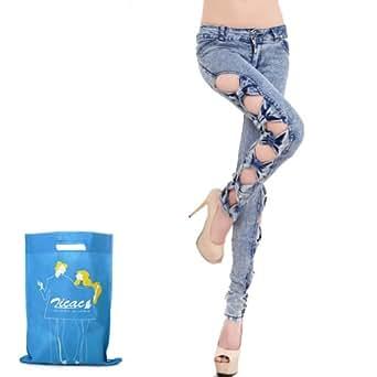 Zicac - Sexy Jeans femme slim avec bows du côté du jean - unique & élégant (M:FR34-36)