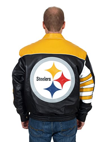low priced 6a980 6601f Pittsburgh Steelers Men s Classic Leather Jacket with Hand Crafted Leather  Team Logos by JH Design
