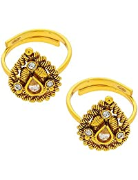 Anuradha Art Golden Colored Toe-Rings Style With Studded Stone For Women - B01EG09GPE