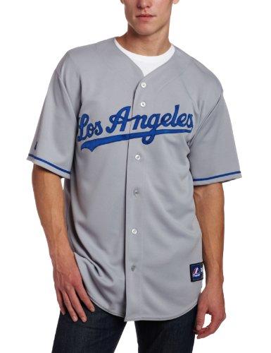 MLB Los Angeles Dodgers Away Replica Jersey, Gray, XX-Large - Plain
