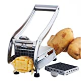 New Stainless Steel French Fry Cutter Potato Vegetable Slicer Chopper Dicer 2 Blades (Color: As picture)