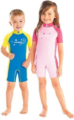 Subgear-Tuta acquatico infantile, corto, motivo: occhio di cavallo di mare, rosa - rosa