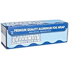 "Boardwalk 7104 Standard Aluminum Foil Roll. 500' Length x 18"" Width x 14 Micron Thickness"