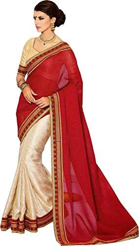 Red Cream Red Wedding Wear Saree Resham Zari Work Bhagalpuri Silk Sari (Multicolor)