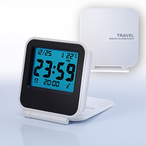 VIPstore® Small Travel Folding Alarm Clock with Date / Temperature / Week / Alarm Status / Repeating Snooze / Blue Backlight (white)