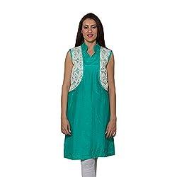 Raagbydeepa Green cotten silk Designer Kurti for women