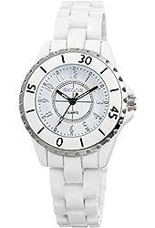 Voeons Women's White Ceramic Bracelet Watch 7241v