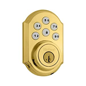 Kwikset 910 Z-Wave SmartCode Electronic Deadbolt featuring SmartKey in Lifetime Polished Brass