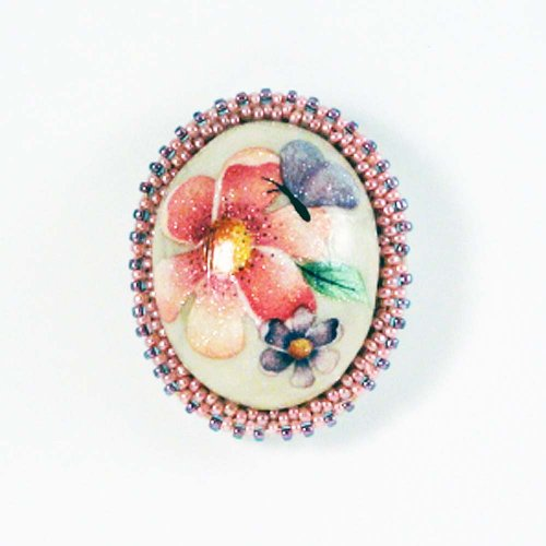 Beaded Floral Cameo Brooch