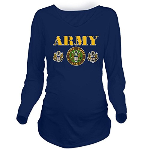 Royal Lion Long Sleeve Maternity T-Shirt Dk United States Us Army Military Seal - Navy, Small