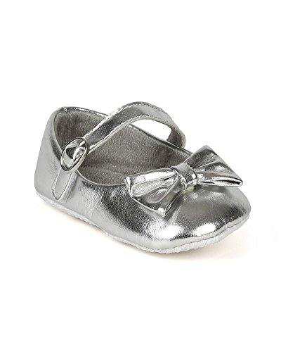 Jelly Beans Bd58 Leatherette Mary Jane Velcro Bow Walker Ballerina Flat (Baby Girl / Toddler) - Silver (Size: Infant 3)