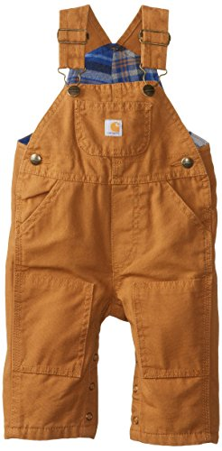 Carhartt Baby-Boys Washed Canvas Bib Overall, Carhartt Brown, 3 Months front-861884