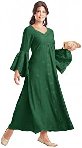HolyClothing Liana Princess Neck Renaissance Medieval A-Line Dress - X-Large - Forest Green