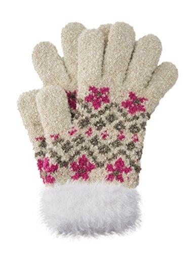 お花柄 ファー付き子供のびのび手袋 【CH-4817】 ベージュ