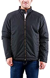 Time Option Men's Polyester Jacket (5012_Black_44)