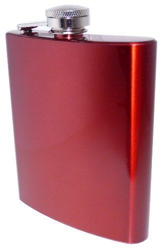 Stainless Steel Coloured Hip Flask - 7 oz - Red