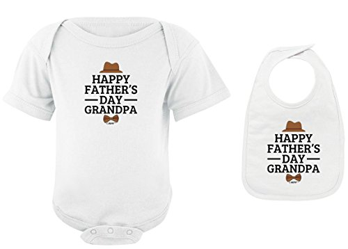 Funny Baby Clothes Happy Father's Day Grandpa White Bodysuit and White Bib Bundle 6 Months