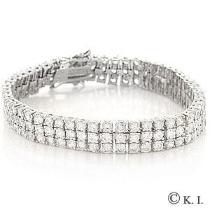 Iced Out Platinum Style 3 Row Cubic Zirconia