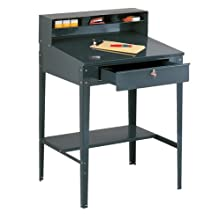Edsal 620 34-1/2-Inch Wide by 30-Inch Deep by 53-Inch High Open Shop Desk Shippers Desk, Grey