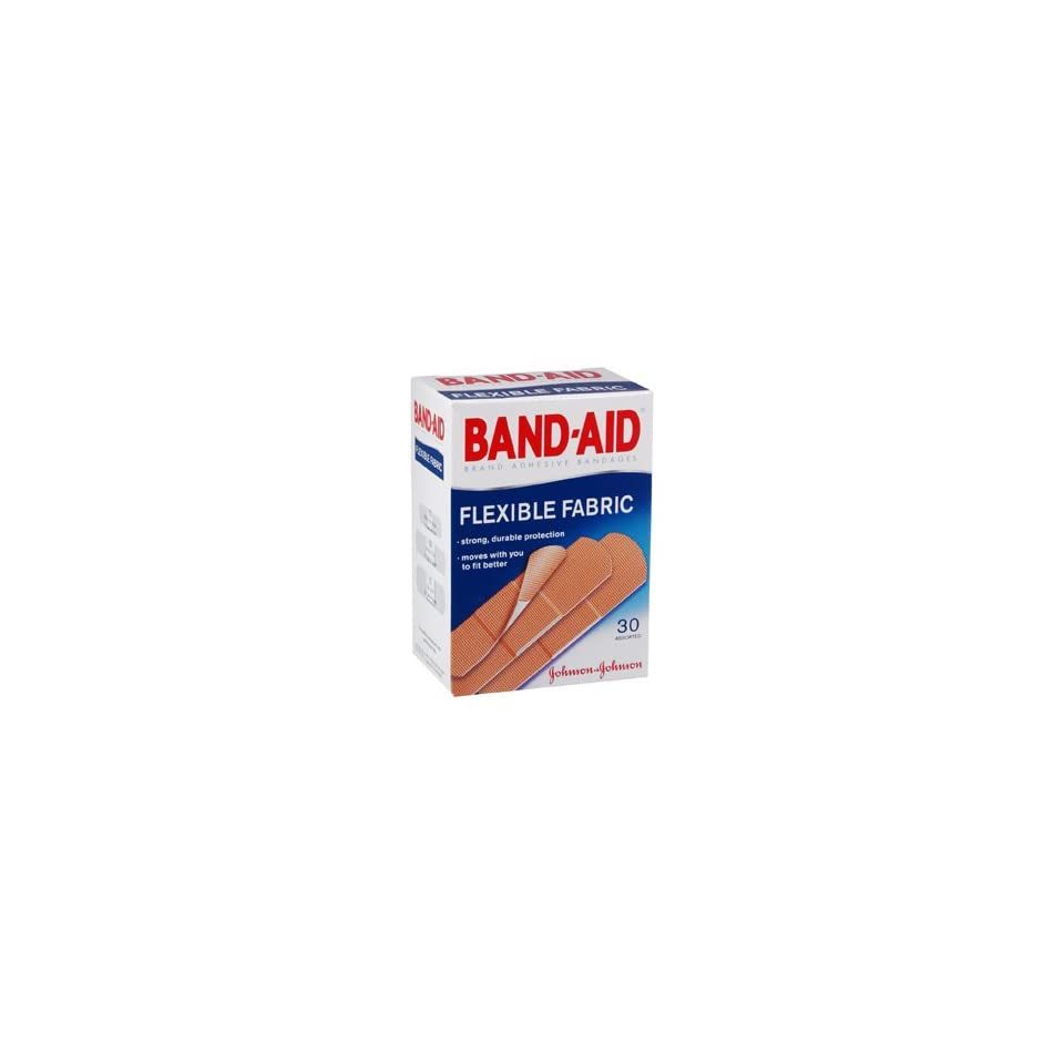 Band Aid Brand Adhesive Bandages, Flexible Fabric, 30 Count Boxes (Pack of 6)