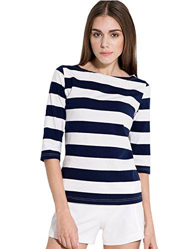 Camii Mia Women'S Spring 3/4 Sleeves Cotton Stripe Pattern T-Shirt (Medium, Blue)