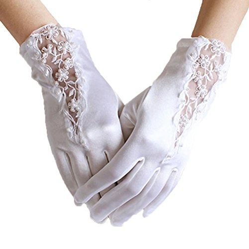 Linabridal Women's Vintage Lace And Satin Wrist Length Bridal Wedding Gloves YT027WT-White