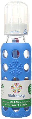 Lifefactory 9-Ounce BPA-Free Glass Baby Bottle with Protective Silicone Sleeve and Stage 2 Nipple, Ocean