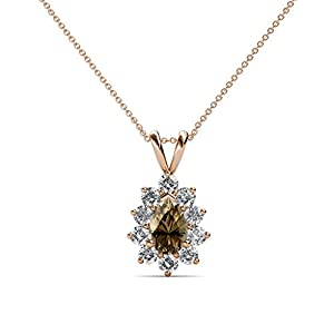 Pear Smoky Quartz and Diamond Halo Pendant 0.95 ct tw in 14K Rose Gold with 18 Inches 14K Gold Chain