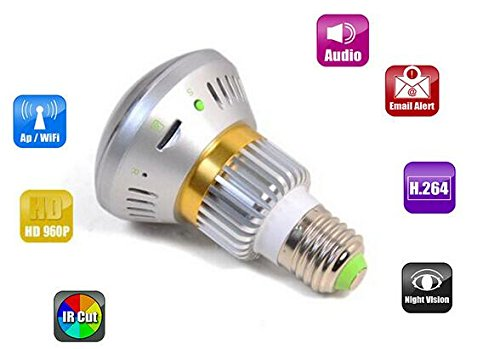 Mirror Bulb WiFi Camera with 5W White LED Light P2P bulb IP camera with APP control Back to School Special